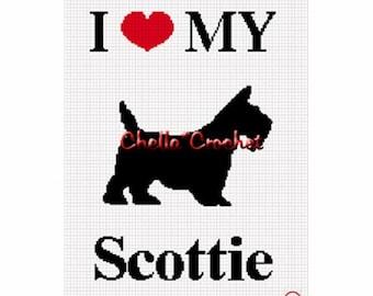 INSTANT DOWNLOAD Chella Crochet Pattern I Love My Scottie Silhouette Dog Afghan  Pattern Graph Chart. .PDF