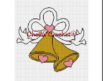 INSTANT DOWNLOAD Chella Crochet Wedding Bells Gold Ribbons Doves Afghan Crochet Pattern Graph Chart .PDF