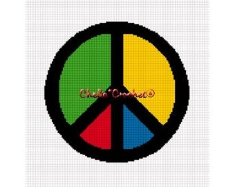 INSTANT DOWNLOAD Chella Crochet Colorful Peace Sign Symbol Afghan Crochet Pattern Graph Chart .PDF