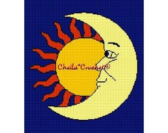 INSTANT DOWNLOAD Chella Crochet Celestial Sun Moon Stars Afghan Crochet Pattern Graph Chart .PDF