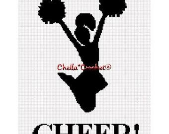 INSTANT DOWNLOAD Chella Crochet Cheerleader Cheer Silhouette Afghan Crochet Pattern Graph Chart .PDF