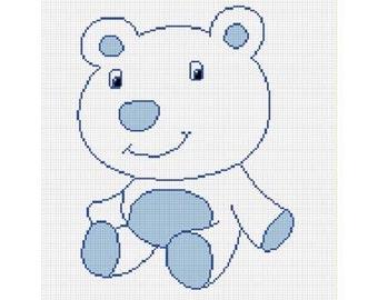 INSTANT DOWNLOAD Chella Crochet Pattern Baby Blue Polar Bear Pattern Afghan Graph Chart. .PDF