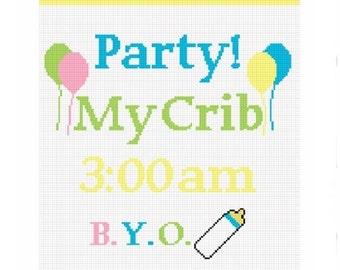 INSTANT DOWNLOAD Chella Crochet Baby Party My Crib B Y O Bottle  Afghan Crochet Pattern Graph Chart .PDF