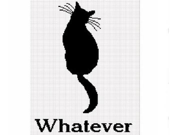 Instant Download Chella Crochet Cat Silhouette Whatever Afghan Crochet Pattern Graph Chart .PDF