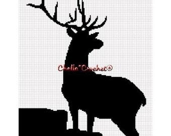 INSTANT DOWNLOAD Chella Crochet Deer Silhouette Buck Stag Afghan Crochet Pattern Graph Chart .PDF