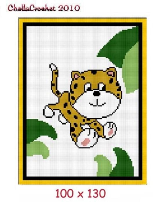 INSTANT DOWNLOAD Chella Crochet Baby Cheetah Jungle Afghan Crochet Pattern Graph 100st