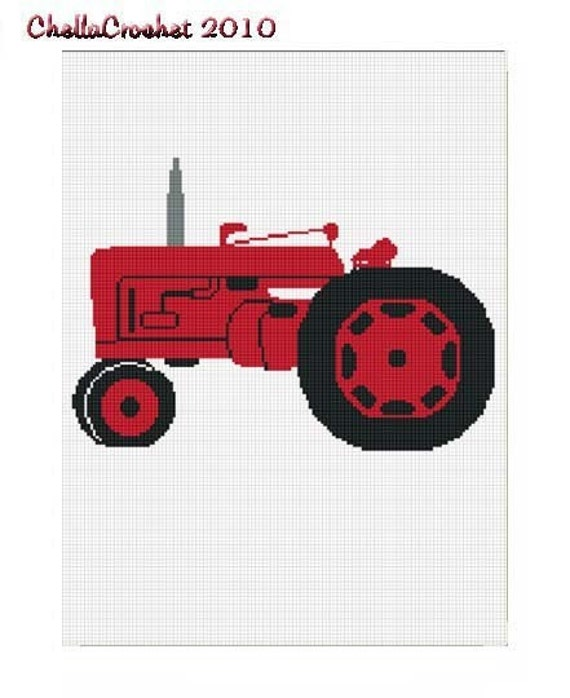 INSTANT DOWNLOAD Chella Crochet Red Farm Tractor Afghan Crochet Pattern Graph
