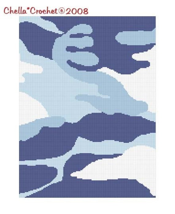 INSTANT DOWNLOAD Chella Crochet Camouflage Camo Blue Afghan Crochet Pattern Graph Chart .PDF