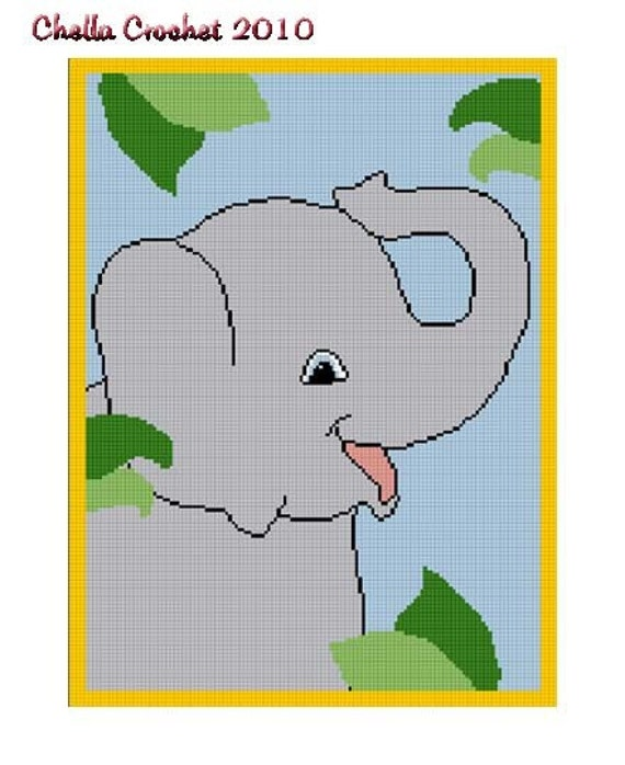 INSTANT DOWNLOAD Chella Crochet Large Baby Elephant on Safari / Jungle Afghan Crochet Pattern Graph Chart .PDF