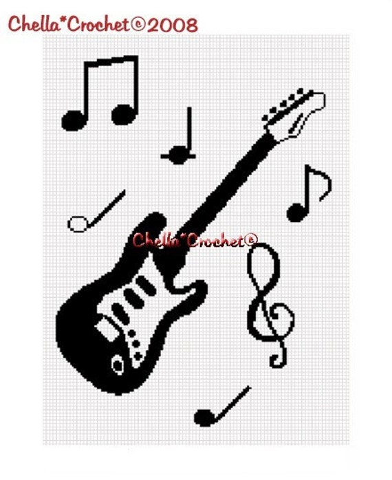 Free Crochet Patterns For Music Notes : INSTANT DOWNLOAD Chella Crochet Guitar and Musical Notes Scale