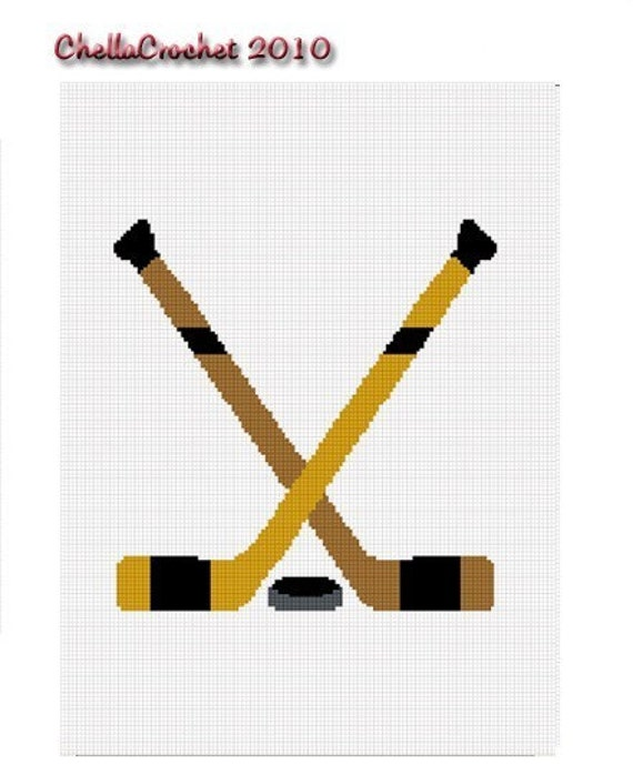 INSTANT DOWNLOAD Chella Crochet Hockey Crossed Sticks Puck Afghan Crochet Pattern Graph Emailed