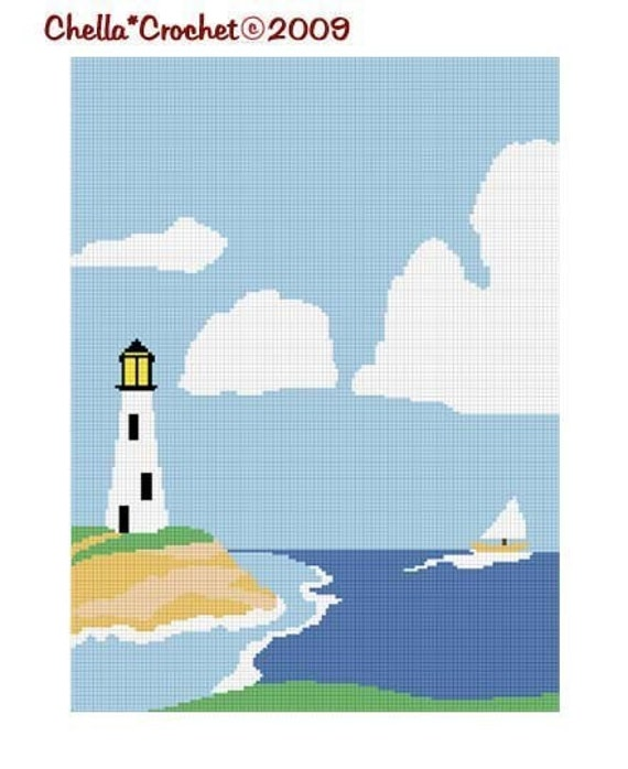 INSTANT DOWNLOAD Chella Crochet Lighthouse No. 2 Afghan Crochet Pattern Graph