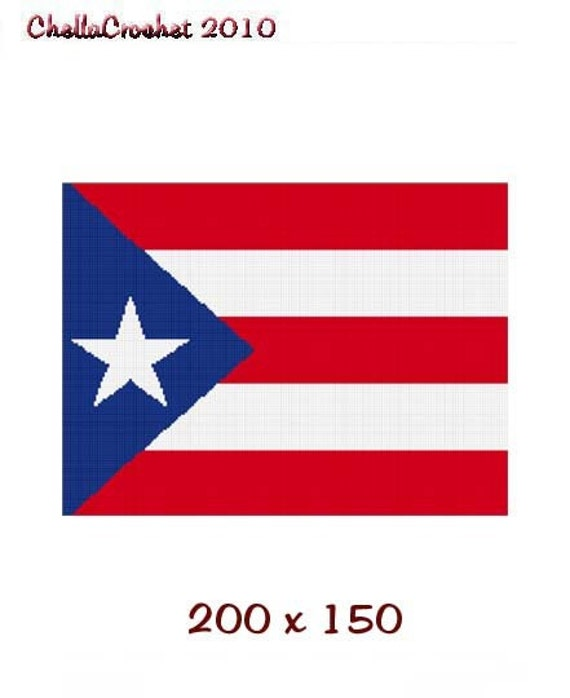 INSTANT DOWNLOAD Chella Crochet Puerto Rico Rican Flag Afghan Crochet Pattern Graph