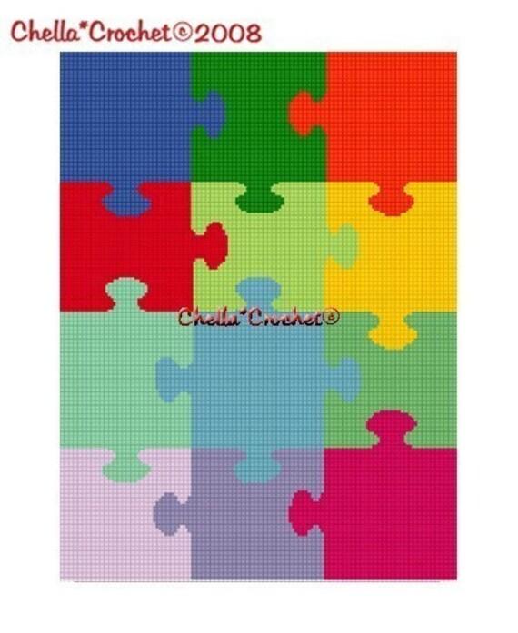 INSTANT DOWNLOAD Chella Crochet Jigsaw Puzzle Use Scrap Yarn Afghan Crochet Pattern Graph Chart .PDF