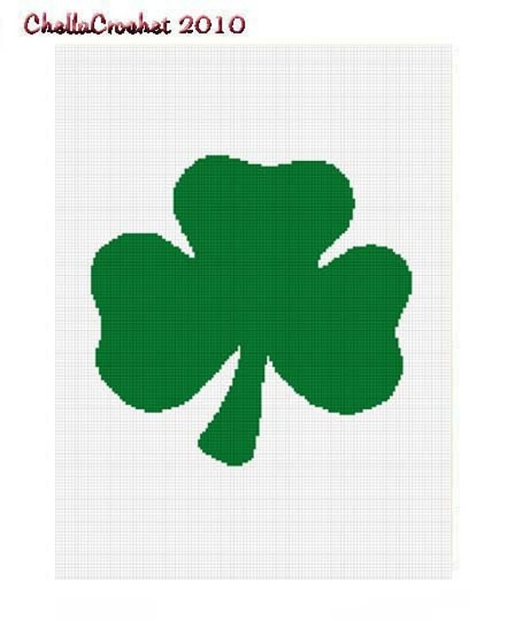 INSTANT DOWNLOAD cross stitch Chella Crochet Shamrock Leaf Clover Afghan Crochet Pattern Graph