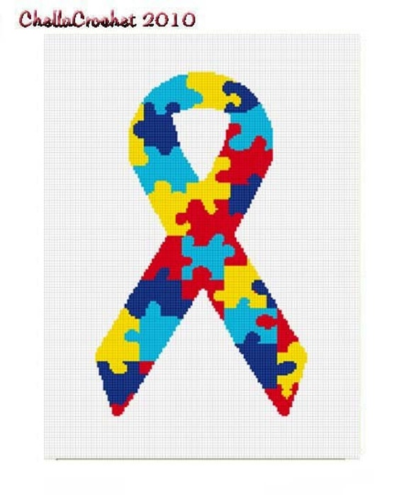 INSTANT DOWNLOAD Chella Crochet Autism Puzzle Ribbon Afghan Crochet Pattern Graph