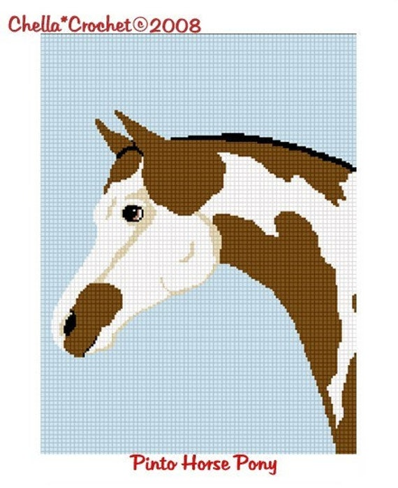Free Crochet Horse Afghan Pattern : INSTANT DOWNLOAD Chella Crochet Horse Head Pinto by ...