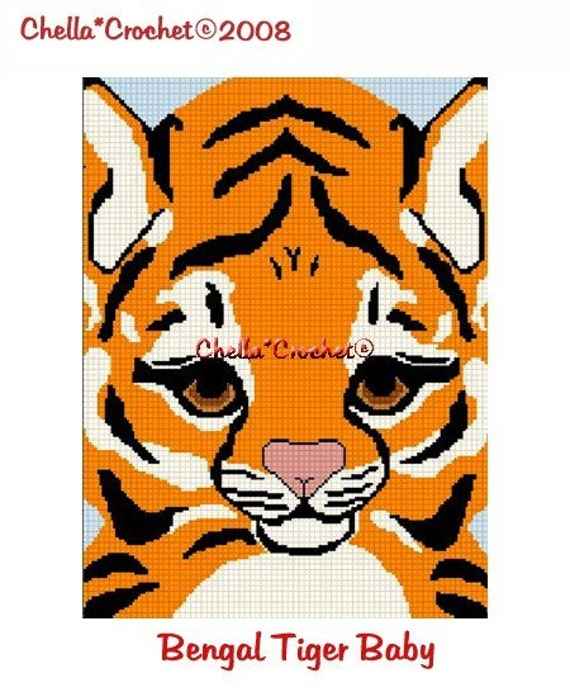 INSTANT DOWNLOAD Chella Crochet Baby Bengal Tiger Face