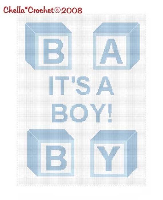 INSTANT DOWNLOAD Chella Crochet Blue Baby Blocks Its a Boy Afghan Crochet Pattern Graph Chart .PDF