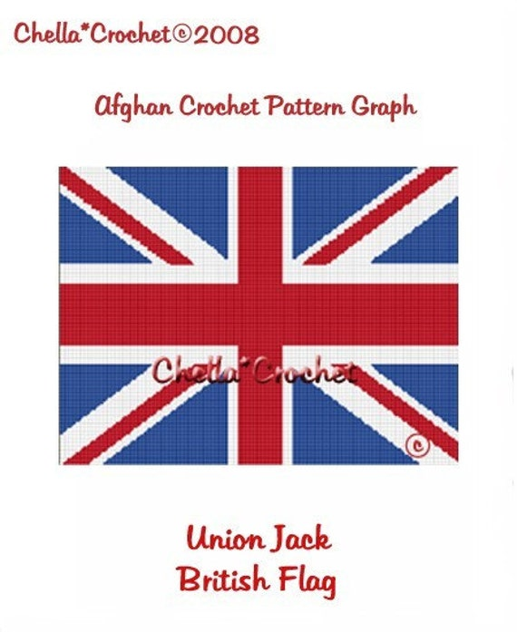 INSTANT DOWNLOAD Chella Crochet British Union Jack Flag Afghan