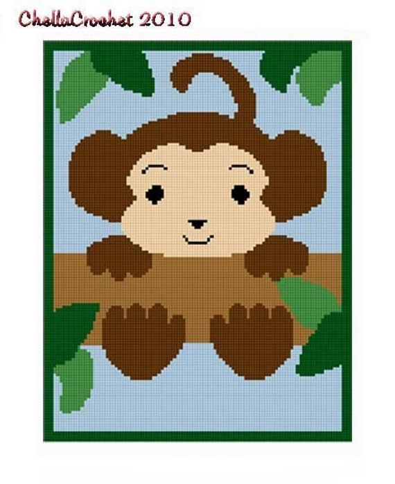 INSTANT DOWNLOAD Chella Crochet .PDF Baby Monkey  In Tree Afghan Crochet Pattern Graph 100st