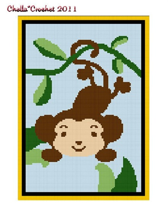 Instant Download Zoo Safari Monkey In Jungle Afghan Crochet Pattern
