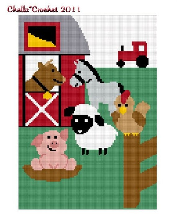 INSTANT DOWNLOAD Farm Animals No2 Bull Horse Pig Lamb Rooster Barn Tractor Fun Afghan Crochet Pattern Graph