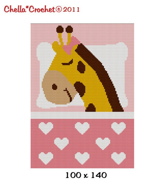 INSTANT DOWNLOAD Sleeping Giraffe for Girl With Hearts Pinks Chella Crochet Afghan Pattern Graph 100 st