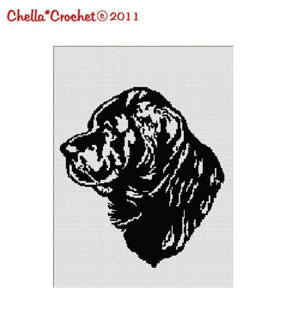 Woolen Socks Knitting Pattern : INSTANT DOWNLOAD Black Newfoundland Dog Silhouette Afghan