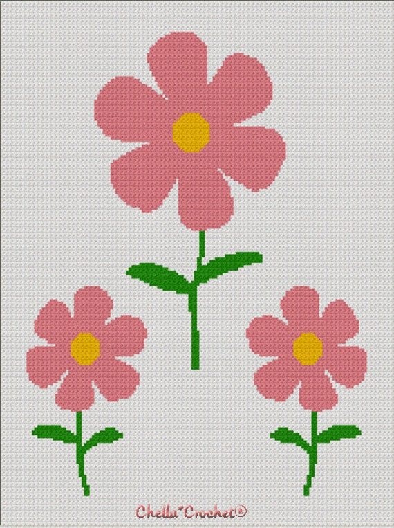 INSTANT DOWNLOAD Pink Daisies Flowers Spring Afghan Crochet Knit Cross Stitch Pattern Graph