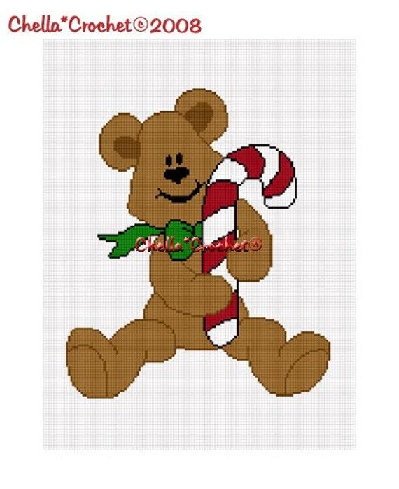 Instant Download Chella Crochet Christmas Teddy Bear Candy Cane Afghan Crochet Pattern Graph Chart .PDF