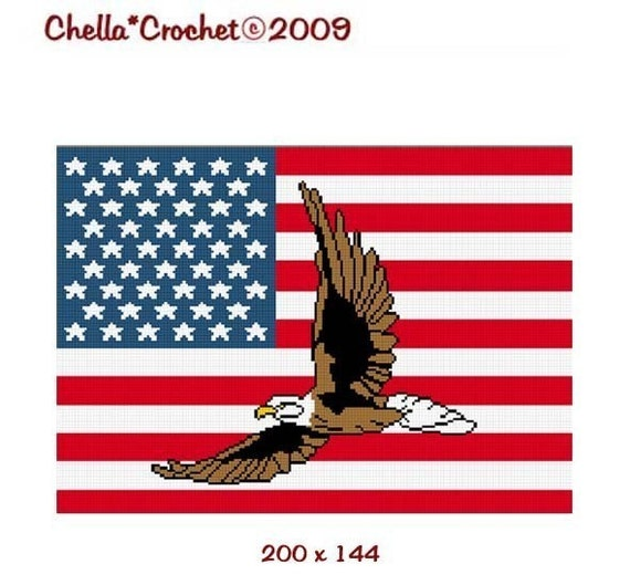 INSTANT DOWNLOAD Chella Crochet Pattern Bald Eagle on American United States U.S. Flag Afghan Pattern Graph Chart .pdf