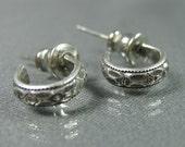 Tiny patterned sterling silver hoop earrings