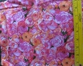 CLOSEOUT 1 Yd Roses Cotton Quilting Fabric Pink Orange