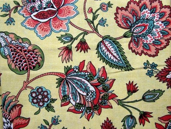 1 yard Retro Floral Yellow Art Nouveau Fabric Cotton