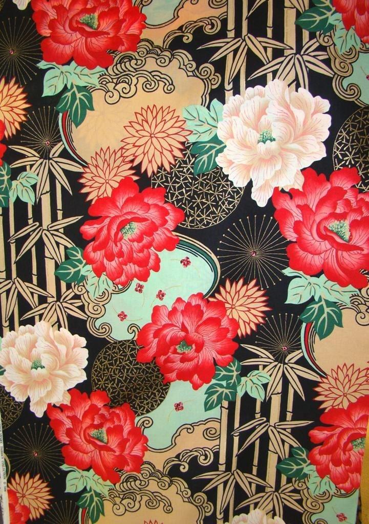 Alexander Henry Lady Yang Asian Print Cotton Fabric Oop 1 Yd
