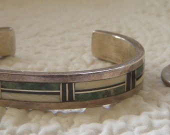 Vintage Native American Turquoise, Onyx and Ivory Cuff Bracelet by A. Jake