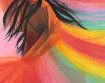 And So We Dance - Fine art print of a painting of a Native American shawl dancer 7x10