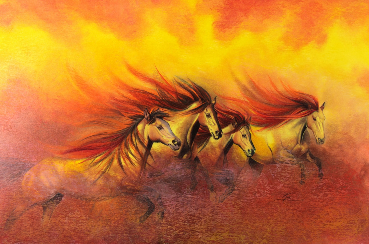 prismacolor art print of fire horses 10x7. Black Bedroom Furniture Sets. Home Design Ideas