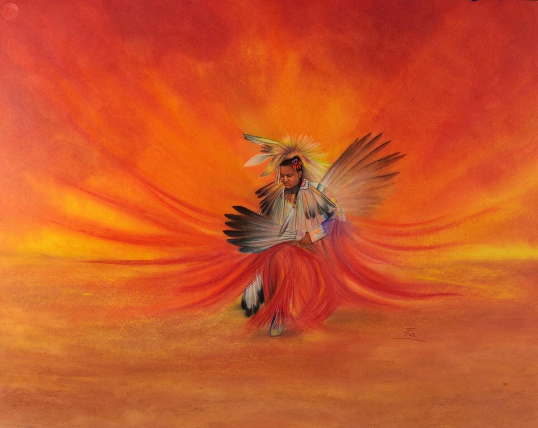 prismacolor art print of native american eagle dancer 16x13