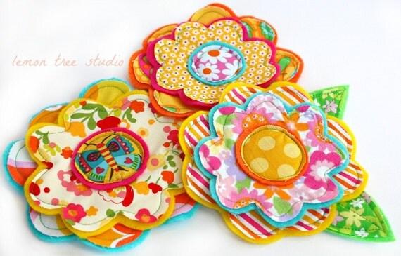 LAST SET -- Fresh Picked Flowers (Justina) -- Handmade Fabric and Felt Adornments