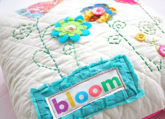 Embroidered BLOOM -- Quilted Pillow