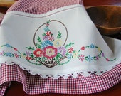 Garden Basket Tea Towel -- Spring has Sprung -  Vintage Recycled to Upcycled