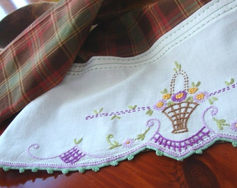 Tea Towel Vintage Charm Garden Basket From Recycled Linen to Upcycled Dish Towel Kitchen Home Decor