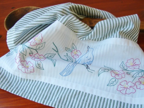 Tea Towel Blue Jay Flight - Vintage Recycled to Upcycled Homespun Home Decor