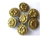 7 Antique vintage metal buttons, brass, flower etched ornament, unique, rare, might be collectible, 16mm