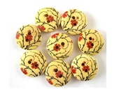 8 wood buttons 18mm, red flower ornament ,18mm