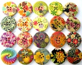 Wood buttons, 20 buttons in 20 designs , colorful, flowers, ornament, 30mm