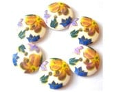 6 Buttons white with colorful flowers, plastic, new, 18mm for button jewelry
