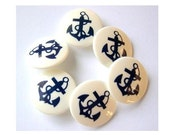 Vintage buttons, blue anchor picture on white, vintage, 22mm, 6 buttons